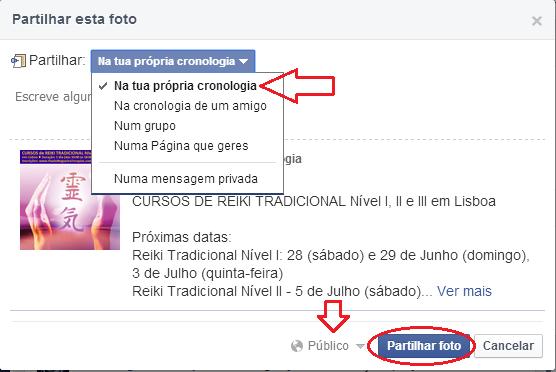 Como partilhar no Facebook