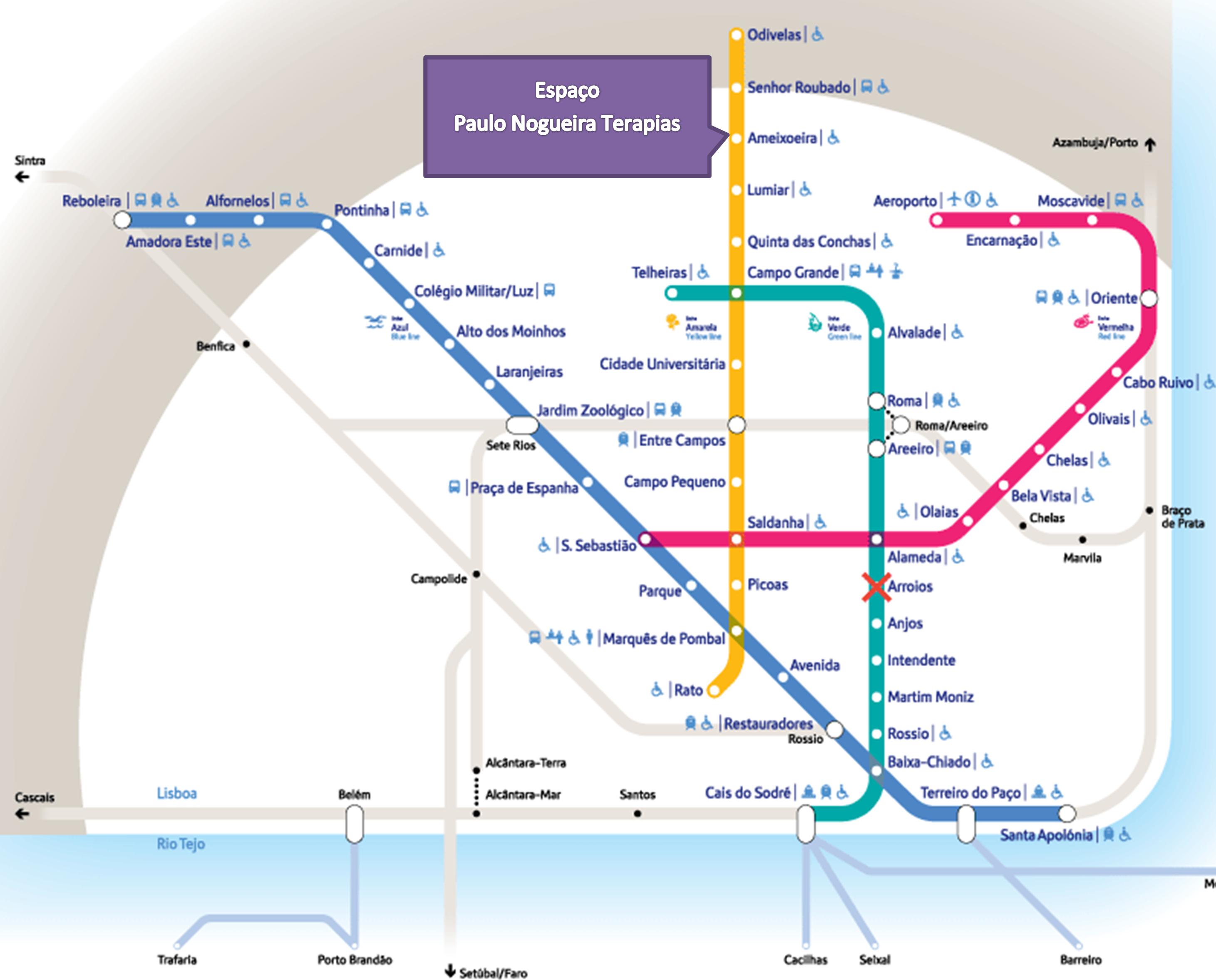 Diagrama do metro de Lisboa para chegar ao espaço Paulo Nogueira Terapias
