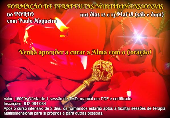 CURSO de TERAPIA MULTIDIMENSIONAL no PORTO em Maio de 2018 com Paulo Nogueira